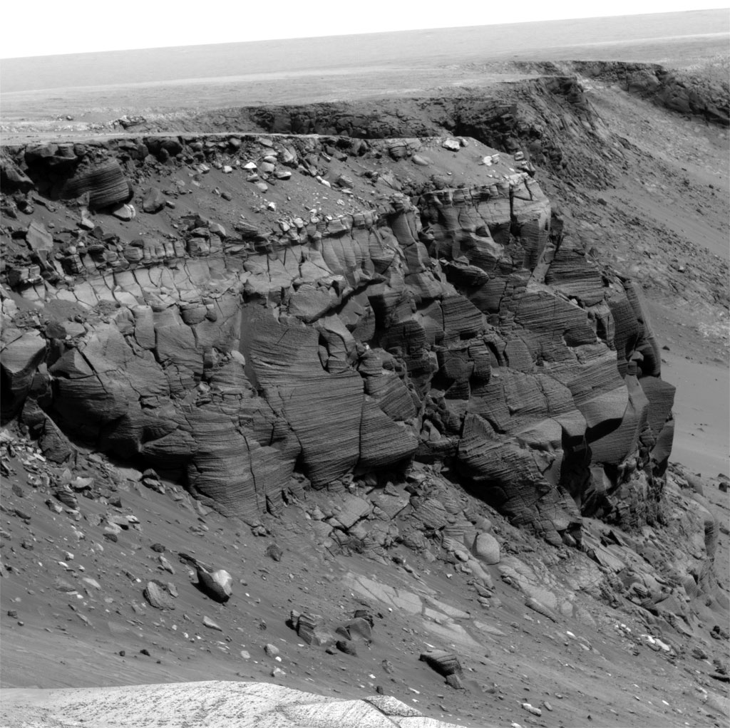Cape St Vincent explored by Opportunity in Victoria Crater, Courtesy of NASA/JPL-Caltech/Cornell