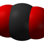 Carbon dioxide (via Wikipedia by JacekFH) carbon atom in the middle flanked by two oxygen atoms
